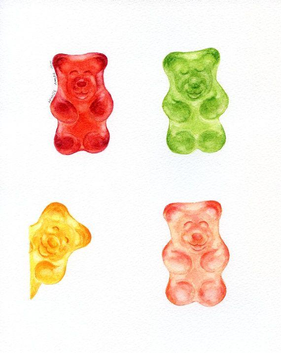 "Jelly Bears- ORIGINAL Painting (Desset Illustration, Still Life, Food Wall Art) 8x10"""