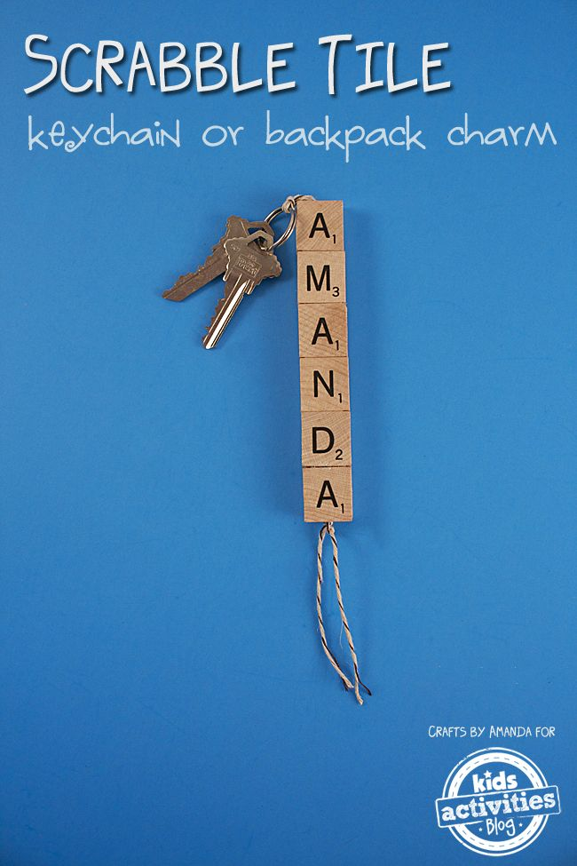 How to make the perfect scrabble tile keychain! Perfect for a backpack charm, too!