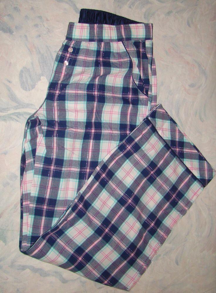Victorias Secret The Dreamer Flannel Pajama Pants pockets Satin Cotton Navy M #VictoriasSecret #LoungePantsSleepShorts