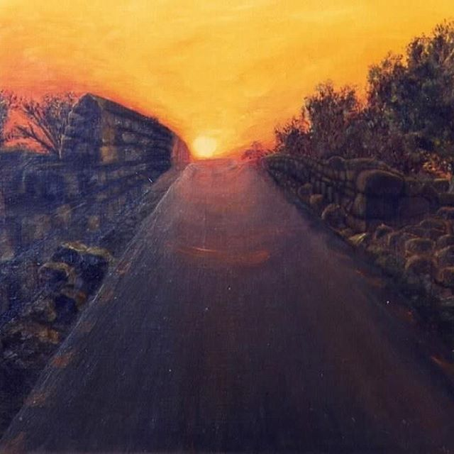 """Sunset at Ein Kenya"" oil on canvas by M. Kishek. . . . #sunset #sunsets #sun #olive #olivegarden #tree #countryroad #roman #road #roadtrip #hill #of #Palestine #skyscapes #sky #oilpainting #artist"