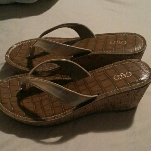 Tan wedge sandals Tan wedge Cato sandals. Never worn. Catos Shoes Wedges
