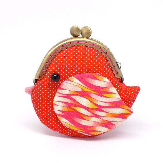Cute fiery red bird clutch purse by misala