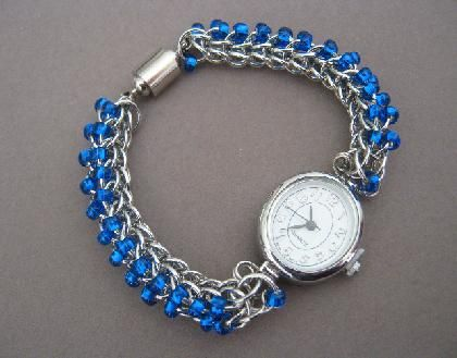 12 Hour Blues Chainmaille Watch