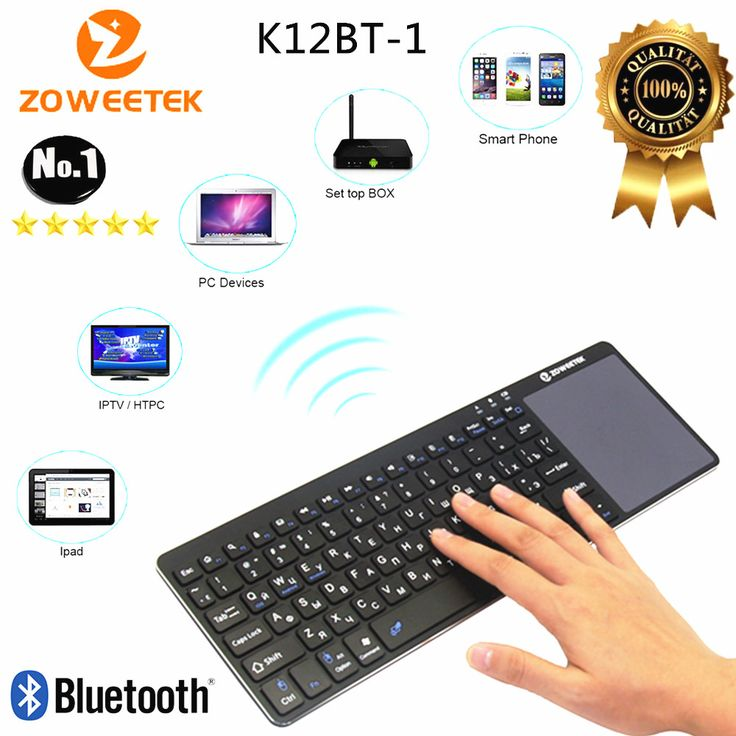 ==> [Free Shipping] Buy Best Zoweetek K12BT-1 Mini wireless Russian Hebrew English Spanish German Bluetooth Touchpad Remote Control for PC Android TV Box Online with LOWEST Price | 32469510334
