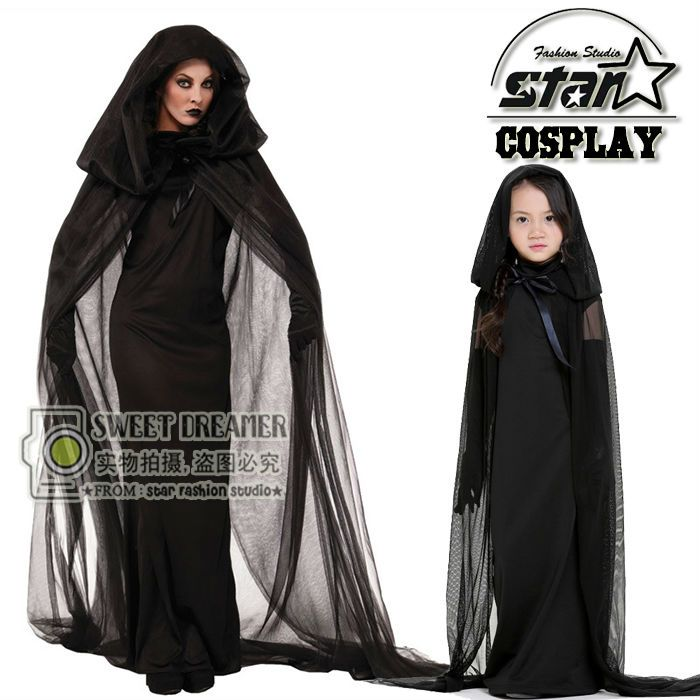 Black Ghost Costume Evil Witches Costume Gothic Cosplay Floor-length Cloak Halloween Costumes for Family Matching Long Dress
