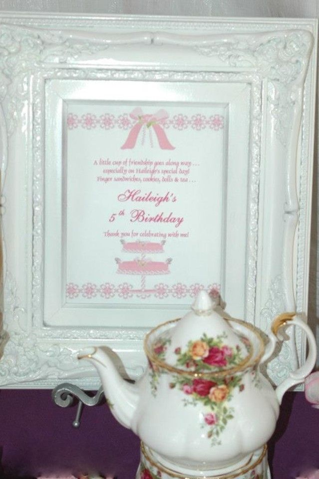 Little Girls Tea Party: Thank You For Coming To My Party Table Sign.