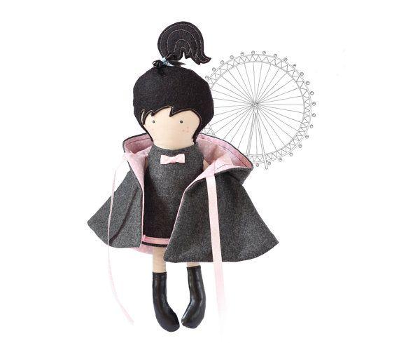 Hooded Girl Doll Cape Hooded Coat Reversable Gray by RibizliDesign