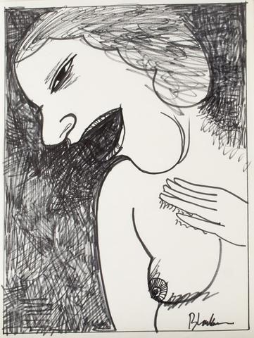 Charles Blackman 'Enjoy' (1971) - ink on paper