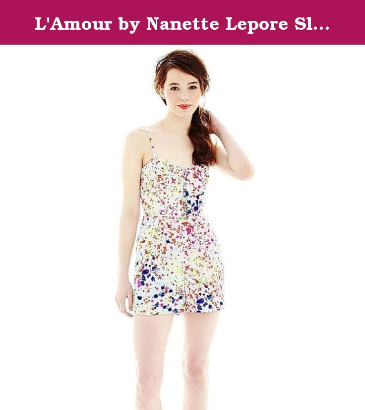 """L'Amour by Nanette Lepore Sleeveless Print Romper New Junior Sizes M. Add a pop of color to your warm-weather wardrobe with our breezy, bold print romper, complete with fun decorative front buttons. zip closure 2 side pockets 2⅞"""" inseam polyester washable imported sku~1."""