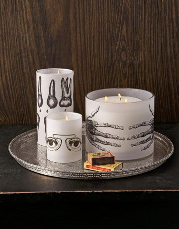 Candles, covered in vellum, simple and great looking.