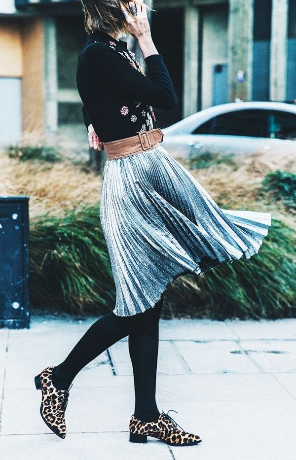 Leopard print loafers, Metallic pleated skirt and Black ...