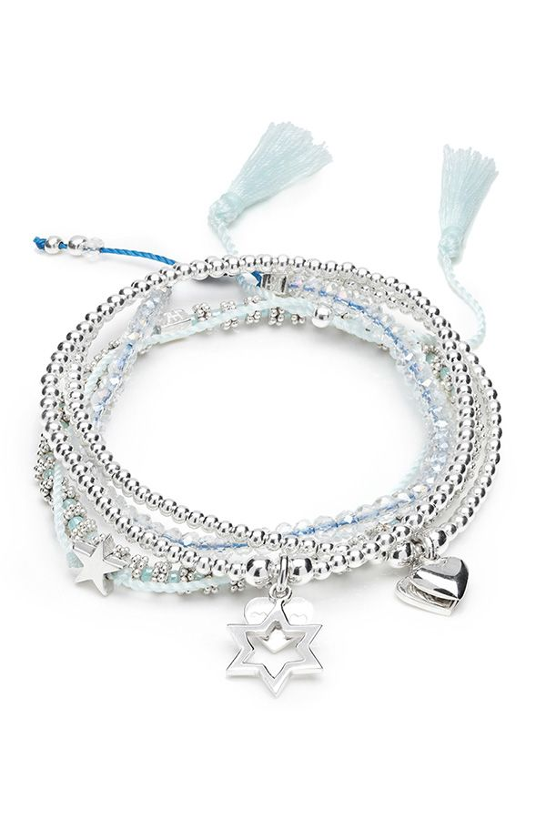 The Electra star is one of the nine brightest stars in the Pleiades open cluster, and our 925 sterling silver bracelet stack is a delicate down to earth version of this. Designed using 925 sterling silver beads and stunning ice blue Japanese glass beads, which are the perfect accessory to any winter outfit.