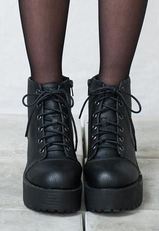 grunge alternative fashion style black boots shoes love