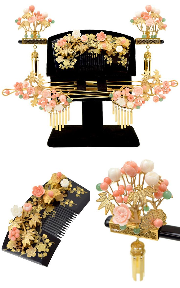 Kanzashi set for wedding, corals, semi precious stones, gilding