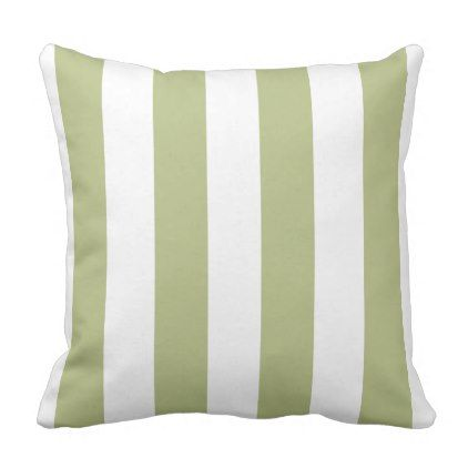 Sage Green and White Wide Stripes Throw Pillow - decor gifts diy home & living cyo giftidea