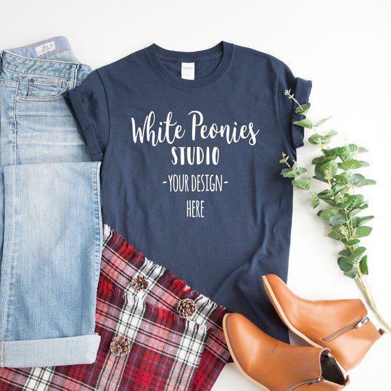 Download Gildan 500 Navy Mockup Winter T Shirt Mock Up Woman Styled Etsy Winter T Shirts Shirt Mockup Mockup Free Psd