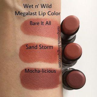 Wet n Wild Megalast Lip Color en Bare It All, Sand Storm y Mocha-licious Swatches en Little Fairy Blog Haul Usa: NYX, Revlon, Aussie, Nivea, Freeman y Más!
