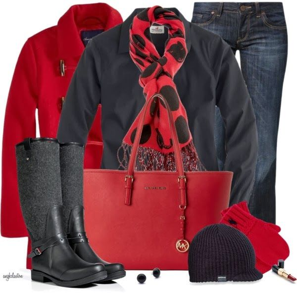 Winter OutfitGame Day Outfits, Fashion, Polka Dots, Cute Outfits, Red Purses, Winter Outfits, Games Day Outfit, Boots, Red Black