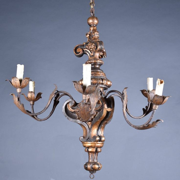 Antique Italian Chandelier.  Antique Italian Chandelier with wood and Iron arms. 18th century.