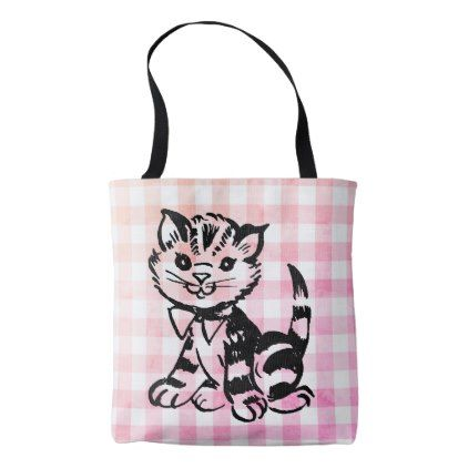 Vintage cat on faded pink gingham tote bag - chic design idea diy elegant beautiful stylish modern exclusive trendy