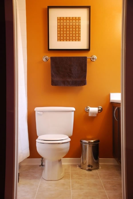 Small Bathroom Color Power accent dark brown of vanity with dark wood framed mirror and. 1000  ideas about Orange Bathrooms on Pinterest   Orange bathrooms