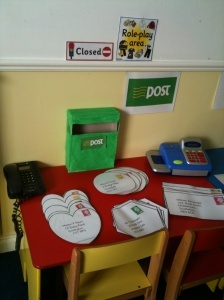 Post office. Set up in playroom for community helpers week