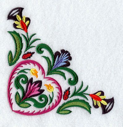 """Wycinanki Heart CornerProduct ID:E9028 Size:5.64""""(w) x 4.86""""(h) (143.3 x 123.5 mm)Color Changes:12 Stitches:22520Colors Used:12"""