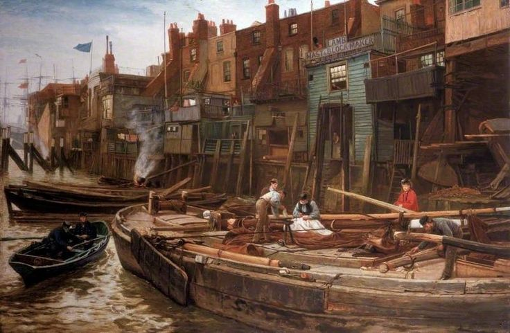 London River, the Limehouse Barge-Builders by Charles Napier Hemy 1877 (South Shields Museum and Art Gallery) #London