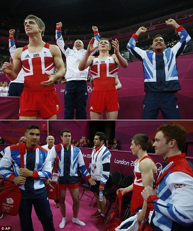 Rollercoaster: Top, the Team GB gymnasts celebrate what looks like a silver medal win before, bottom, hearing the Japanese appeal means it is in fact bronze