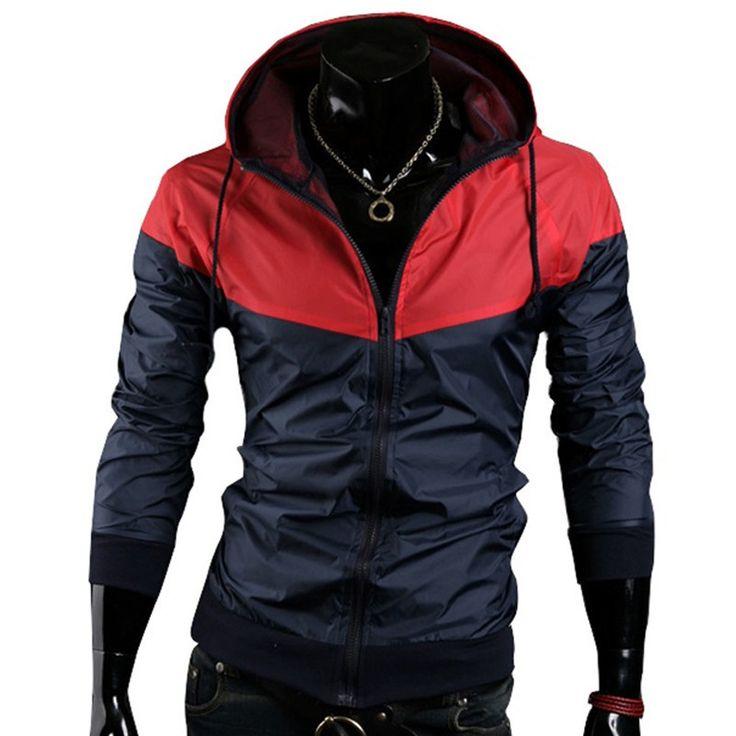 2016 стильный мода высокое качество спортивные куртки пальто, Мужчины причинно-следственной капюшоном куртка, Мужчины тонкий ветровка молнии пальто и пиджаки