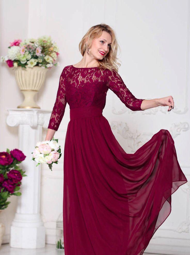 Bridesmaid Marsala Dress Lace Burgundy Wedding Dress Formal Dress Marsala…