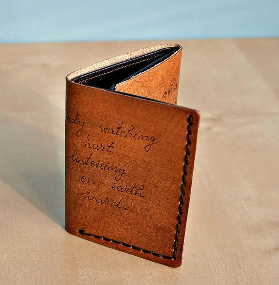 custom personalized mens leather trifold wallet  add words  initials or monogrammed