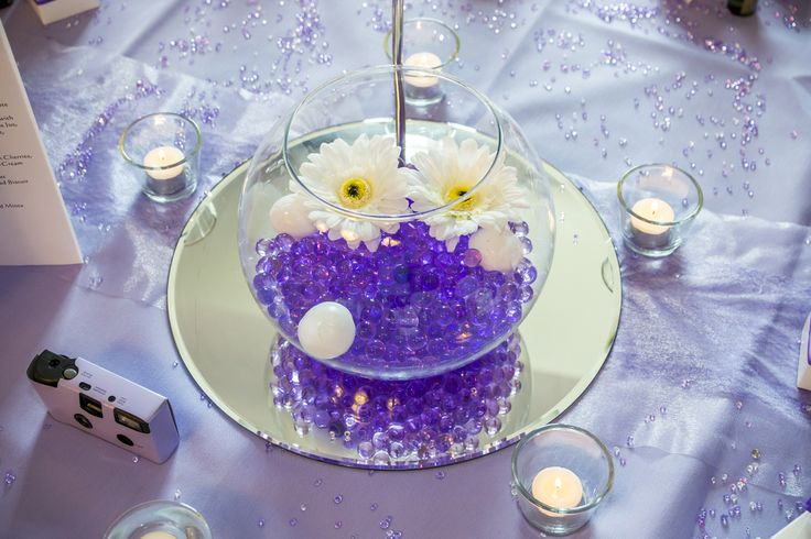 Purple water balls with white flowers inside a bowl as a centrepiece.