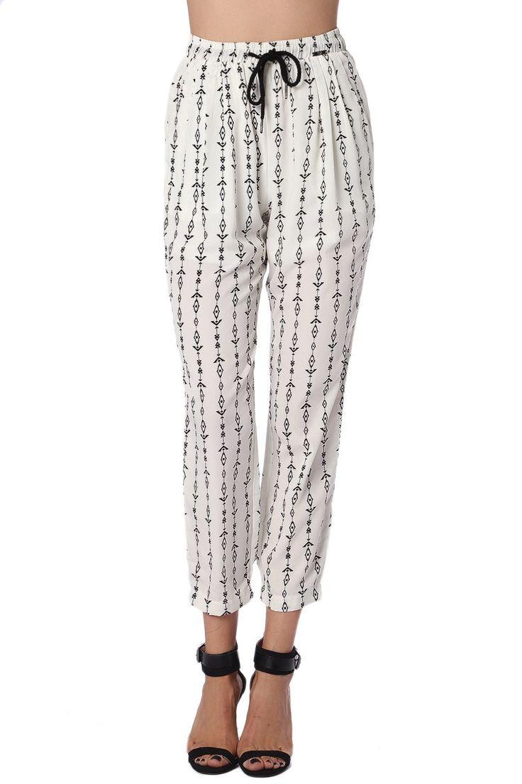 Q2 Cream Pants With Contrast Geo-Tribal Print