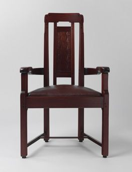 Charles Sumner Greene and Henry Mather Greene, made by Peter and John Hall's Workshop Armchair, 1907-1909 Honduras mahogany, ebony, fruitwood, silver, copper, and mother of pearl 42 x 24 ¾ x 18 in. Metropolitan Museum of Art