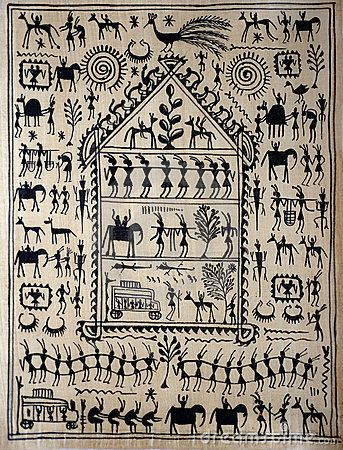 Traditional Indian art on silk