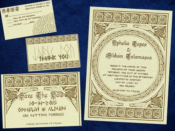 Norse Viking Classy Wedding Invitation Save the by PandorasArt