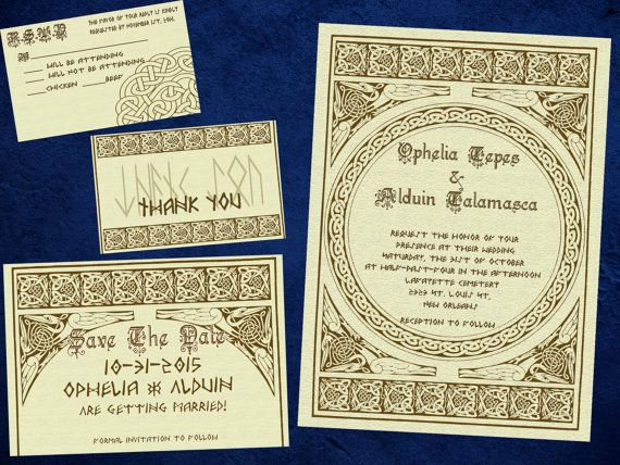 Norse Viking Classy Wedding Invitation, Save the Date, RSVP, and Thank You Digital File Kit JRR Tolkien dwarf norse