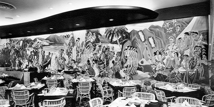Waldorf Hotel Mural, 1952 (Photo by Commercial Illustrators Ltd. via City of Vancouver Archives - CVA 1444-53.06) | 6 surviving vintage murals in Vancouver