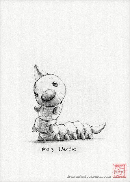 Weedle  5 x 7 print pokemon drawing art by DrawingsofHeroes, $9.00