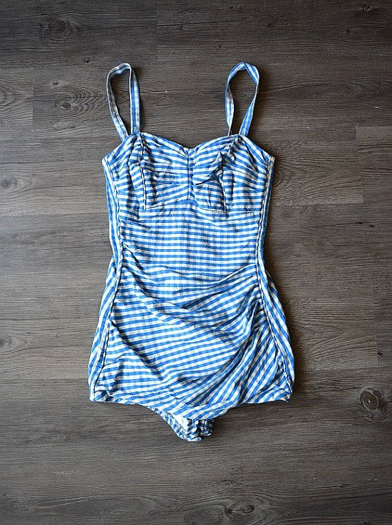 RESERVED . . . 1950s gingham swimsuit . vintage 50s by BlueFennel