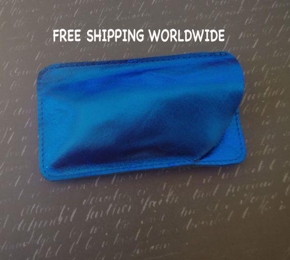 Metallic blue sunglasses case, glass case, leather sunglass protector, leather sunglasses case, blue sunglasses case, leather sunnies case