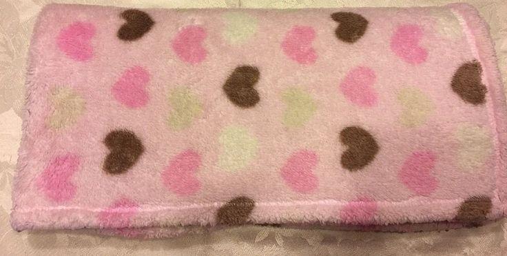 Baby Gear Pink Fleece Purple Brown Hearts Security Blanket