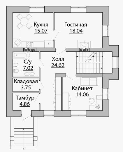C-167 Проект двухэтажного дома с цокольным этажом - Проекты домов и коттеджей в Липецке
