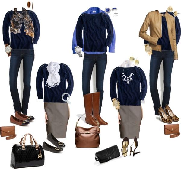 """10 Piece Fall Wardrobe - Navy Sweater 5 Ways"" by crystaljoyce ❤ liked on Polyvore"