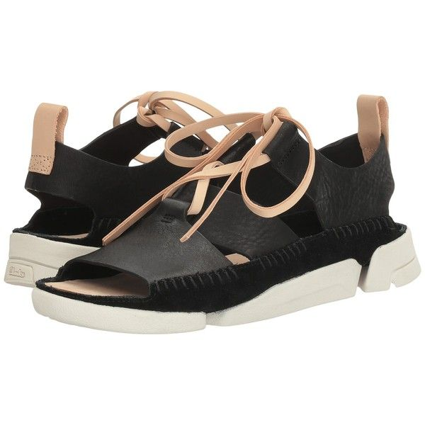 Clarks Trigenic Honey (Black Nubuck) Women's Sandals ($120) ❤ liked on  Polyvore