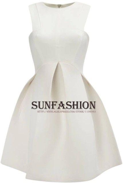 원피스/여름 파티 플레어 플리츠 드레스 여성 패션 화이트 라운드 넥 민소매 작업 이 여성 은 드레스를 입는 새로운 도착 2014 New Arrival 2014 Summer Part