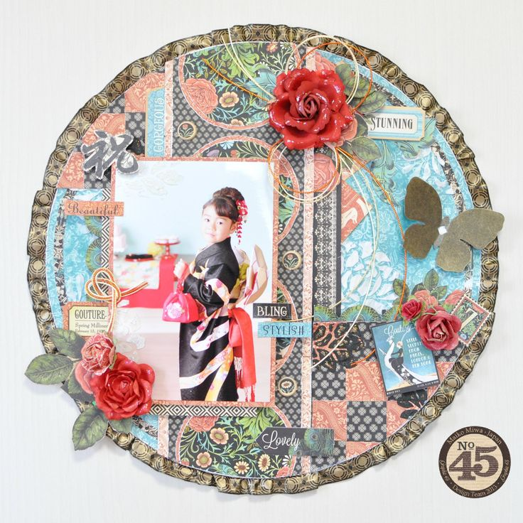 This is a round layout for the Graphic45 .I used the Couture collection and washi tape!