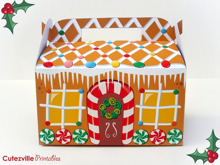 printable gift boxes printable pdf gingerbread house cupcake favor 2767