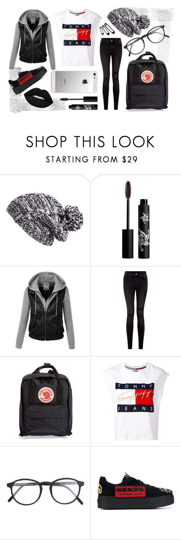 """Monochrome w/ Red"" by alexfreyberg on Polyvore featuring Zella, Rouge Bunny Rouge, Fjällräven, Tommy Hilfiger, RetroSuperFuture, AT&T, Kenzo and Lime Crime"